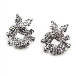 Fashion silver butterfly crystal earrings